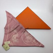 Authentic Hermes Pink Horse Carriage Ex Libris Triangle 100% Silk Scarf W/ Box Photo