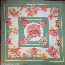 Authentic Hermes Pm Cashmere Scarf Confidents Des Coeurs Green Pink Teddy Bears Photo