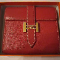 Authentic Hermes Red Leather Wallet - 803 - in the Original Box Photo