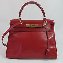 Authentic Hermes  Rouge Vif  True Red Box Calf  Kelly Bag 28cm  Ghw Full Set Photo