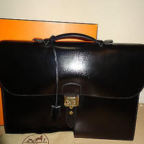 Authentic Hermes Sac a Depeches 40 Black Box Calf Briefcase  Photo