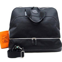Authentic Hermes Sac De Golf Black Color canvas&calf Shoulder Bag Purse France Photo