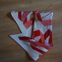 Authentic Hermes Scarf - 100% Silk - Striped - Red and White Photo