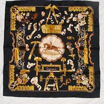 Authentic Hermes Scarf Copeaux Crisp Mint Condition 90 Cm 65 Gm Black Gold Peach Photo