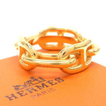 Authentic Hermes Scarf Ring Chaine d'ancre Design Gold Color Metal W/box France Photo