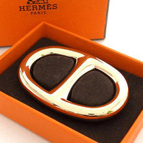 Authentic Hermes Scarf Ring Chaine d'ancre Motif Gold Color Metal With Box Photo