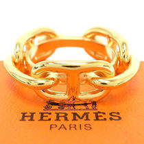 Authentic Hermes Scarf Ring Gold Tone Chaine d'ancre With Box Accessories Photo