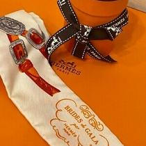 Authentic Hermes Scarf Twilly Brides De Gala Orange White From Japan by Dhl Photo