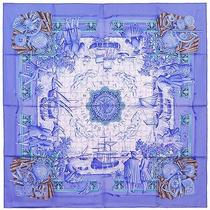 Authentic Hermes Silk Scarf Azulejos Blue Catherine Baschet Ceramic Tiles Photo