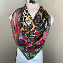 Authentic Hermes Silk Scarf Carre 90 Jaguar Quetzal Green Red Orange Photo