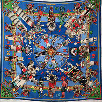Authentic Hermes Silk Scarf Carre 90 Kachinas Blue Green Yellow Black  Photo
