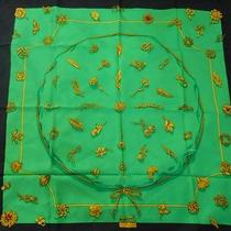 Authentic Hermes Silk Scarf Clips Earrings Green W/ Black Border Unworn Photo