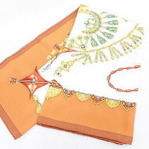Authentic Hermes Silk Scarf Parures Des Sables Orange Toutsy Like New 151-4 Photo