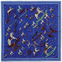 Authentic Hermes Silk Scarf Raconte Moi Le Cheval Blue Rocking Horses Photo