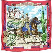 Authentic Hermes Silk Stole Scarf 90x90 the Pony Express Red Excellent M717 Photo