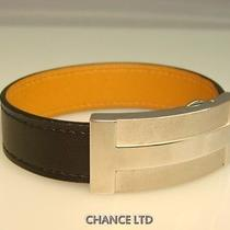 Authentic Hermes Silver and Black Leather Bracelet Excellent Photo