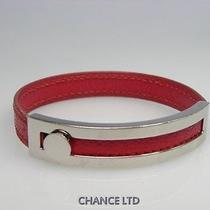 Authentic Hermes Silver and Cherry Pink Leather Bracelet Very Good Photo