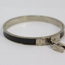 Authentic Hermes Silver Black H Bracelets Bangle France A78 Photo