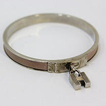 Authentic Hermes Silver Pink H Bracelets Bangle France A77 Photo