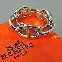 Authentic Hermes Silver Tone Chaine d'ancre Scarf Ring W/box Photo