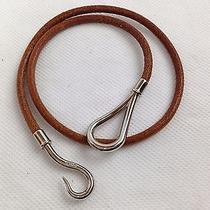 Authentic Hermes Silver Tone Jumbo Hook Brown Leather Choker Bracelet 5k030210 Photo