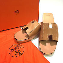 Authentic Hermes Tan Leather 'H' Wooden Platform Slide Sandals Sz 9 New W Box Photo