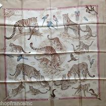 Authentic Hermes Tendresse Feline Silk Scarf 35