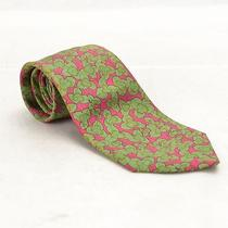 Authentic  Hermes Tie 7228 Ua Pink With Green Clover Leaf 58215 Photo