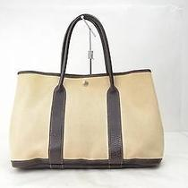 Authentic  Hermes Tote Bag  Gardenparty Cream Canvas 70085 Photo