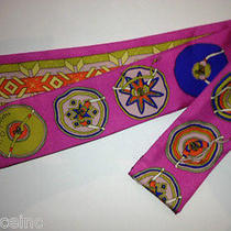 Authentic Hermes Twilly Scarf  Belles Du Mexique Pink Rare & Collectible New  Photo