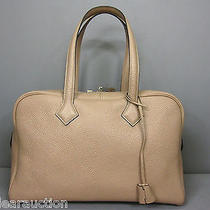 Authentic Hermes Victoria 35 Taurillon Clemence Handbag P Photo