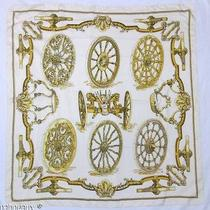 Authentic Hermes Vintage Scarf Silk Caty Roues De Canons Cathy Latham Gold Ivory Photo