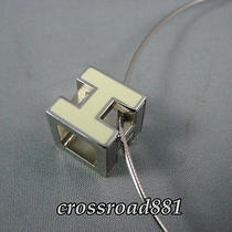 Authentic Hermes White X Silver H Cube Pendant / Necklace Great Condition Photo