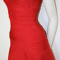 Authentic Herve Leger Lacquer Red Cap Sleeve Jude a-Line Cocktail Dress New M   Photo