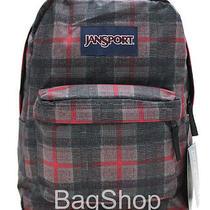 Authentic Jansport Superbreak Red Tape Knit Plaid Backpack Bookbag  Photo