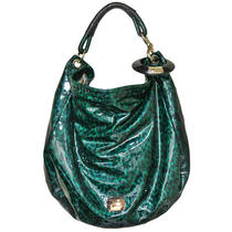 Authentic Jimmy Choo Green Leopard Patent Leather Bangle Hobo Bag Photo