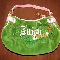 Authentic Juicy Couture Live Hobo Bag Green Velour Handbag Photo