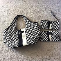 Authentic Kate Spade Handbag Black and White With Wallet and Wristlet Photo