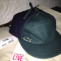Authentic Lacoste 50% Wool Visor Aviator/trapper Hat /cap Dark Green/orange Photo
