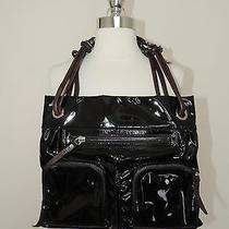 Authenticlanvinblack Patent Shoulder Bag W/leather strap& Zipper Pocket Detail Photo