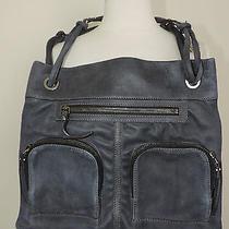 Authenticlanvinblue Leather Shoulder Bag W/leather strap& Zipper Pocket Detail Photo