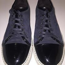 Authentic Lanvin Men's Navy Blue Suede Patent Leather Cap Toe Sneaker Uk6/us8 Photo
