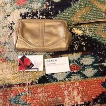 Authentic Leather Coach Gold Evening Bag Clutch or Wristlet Photo