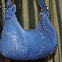 Authentic Leather Coach Hobo Bag Blue Purse Photo