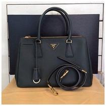 Authentic - Like New Prada Saffiano 30 2012 Dark Green  Photo
