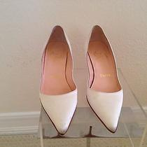 Authentic Louboutin White Satin Pumps Heels Shoes 35.5 Wedding Photo