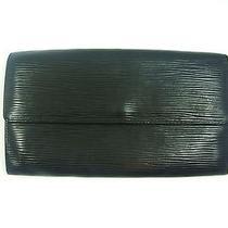 Authentic Louis Vuitton Black Epi Leather Sarah Long Clutch Checkbook Wallet 2 Photo