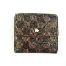 Authentic Louis Vuitton Brown Damier Ebene Canvas Leather Mini Wallet Photo