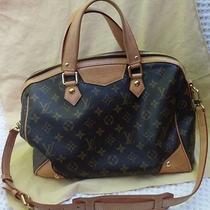Authentic Louis Vuitton Brown Monogram Canvas Leather Shoulder Bag Handbag  Photo