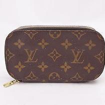 Authentic Louis Vuitton Cosmetic Pouch Trousse Blush Pm Browns Monogram 141262 Photo